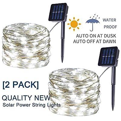 [2 Pack] Solar Fairy Lights, 400 LED Outdoor Solar String Lights Garden White Wire Decorative Lights 66Ft Waterproof Indoor Outdoor Lighting for Garden, Patio, Yard, Christmas