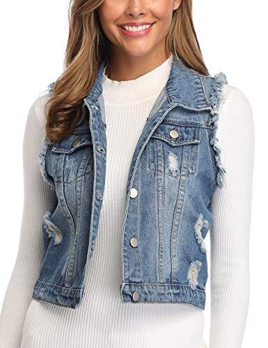 Dilgul Jeansweste Damen Knopf Umlegekragen Zerrissene Ärmelloses Jeansjacke mit Taschen Mittelblau Medium