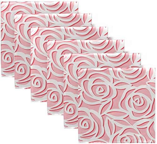 BONRI Juego de 6 servilletas de Tela de Papel de Origami con Estampado de Flores Rosas Bonitas con Estampado Floral, Rosa, día de San Valentín, servilletas de poliéster Lavables para cen20 X20