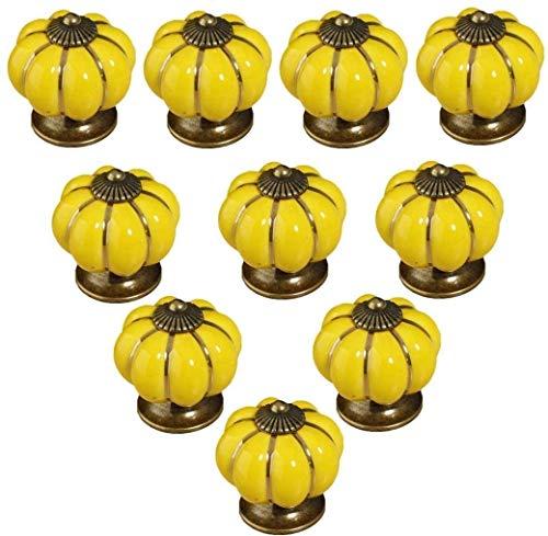 POFET 10 pomelli in ceramica vintage zucca armadio cassetto tira armadio maniglie mobili casa decoratin giallo