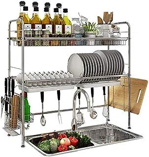 DJSMsnj Rangement de cuisine en acier inoxydable - Égouttoir d'évier de cuisine - Étagères de rangement pour ustensiles de...