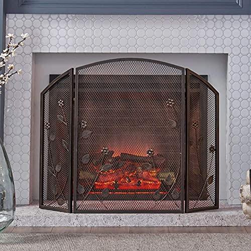 Pantalla de protección contra incendios de 3 paneles para chimenea, pantalla contra incendios de malla metálica con decoración de ramas, ideal para protección contra chispas y decoración de interiores