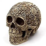 Ujoy Creative Skull Flowers Sculpture 8.1'' Human Head Skeleton Statue Collectible Halloween Decoration Home Decor