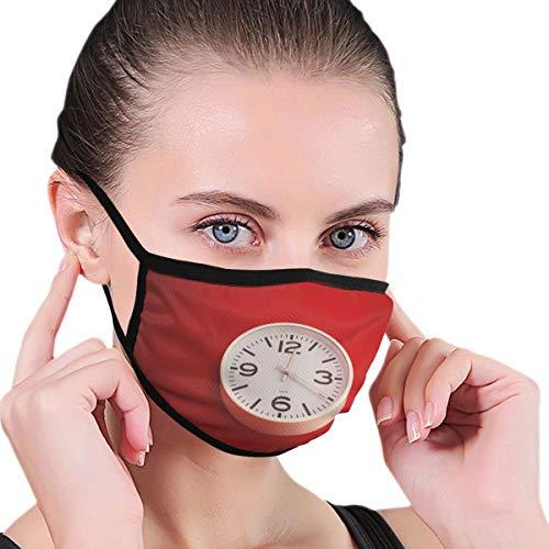 Dataqe Ronde Wit Analoge Wandklok Gezicht Maskers Doek Masker Voor Stofbescherming Katoen Wasbaar Herbruikbaar Voor Mannen En Vrouwen Universeel