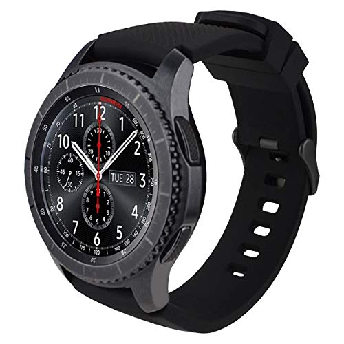 MroTech 22 mm Cinturino Compatibile per Samsung Gear S3 Frontier/Classic/Galaxy Watch 46mm/Huawei Watch 2 Classic/GT/GT Active/Elegant/GT2 46 MM Banda di Ricambio 22mm Band Uomo Donna-Chic Nero