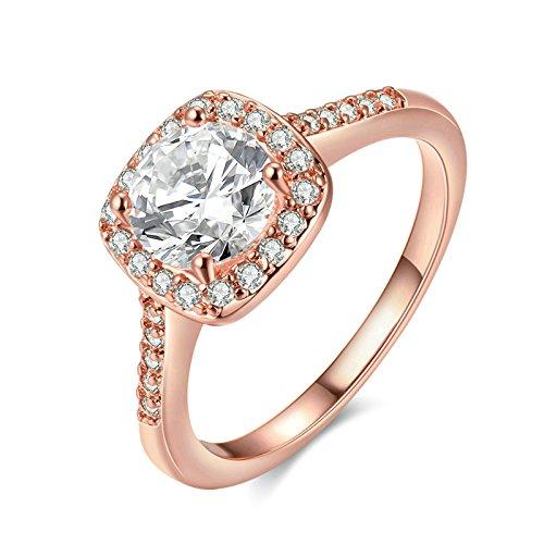 Jiedeng Schmuck Damen Ringe aus Rose Gold Vergoldet Ring mit Zirkonia CZ Verlobungsringe Trauringe Ehering Hochzeitsringe für Damen Frauen Ringe Rose Gold (mit Geschenk Tüte) Größe 60 (19.1)