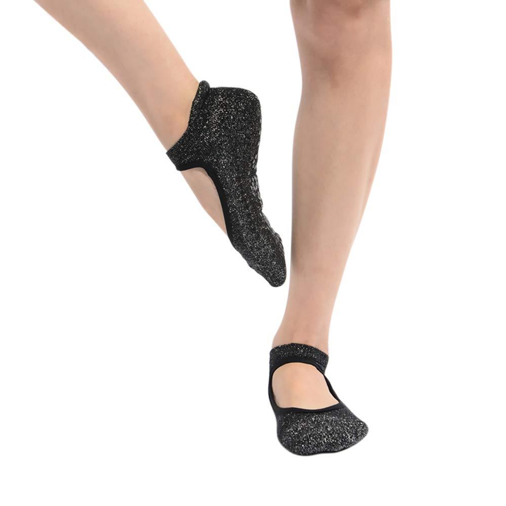 Ballet Barefoot Workout Yoga Dance Pure Barre Yoga Socks for Women Barre Socks Non-Slip with Straps for Pilates