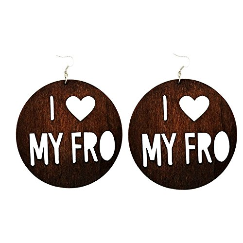 I❤️My Fro Earrings / Natural Hair / African American Woman Earring / Wood Jewelry (Brown)