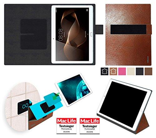 reboon Hülle für Huawei MediaPad M2 10.0 Tasche Cover Case Bumper | in Braun Leder | Testsieger