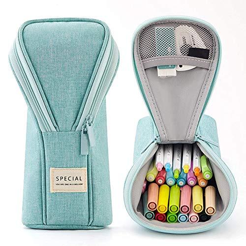 Pineocus Estuche de lápiz de pie, durable bolsa de lona de papelería para niños y niñas, soporte vertical multifuncional para bolígrafos (verde)
