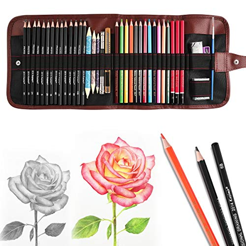 Sketching Pencil Set Drawing Pen Charcoal Sketch Kit Cover Graphite Pencils Charcoal Pencils Watercolor Pencils Paper Erasable Pen Beginners Artist...