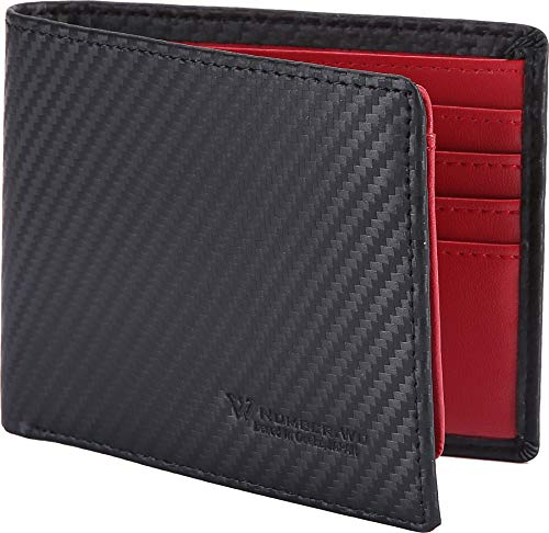 NUMBER.WU RFID Blocking Wallets for Men, Men's Bifold Side Flip ID, Carbon Fiber Genuine Leather Trifold Wallet (Red - Carbon Fiber)