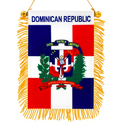 """Anley 4 """"X 6"""" Dominikana Flaga z frędzlami Wisząca flaga - mini flaga Dekoracja na baner i lusterko wsteczne - z frędzlami i dwustronna - Dominikańska flaga cofania z przyssawką"""