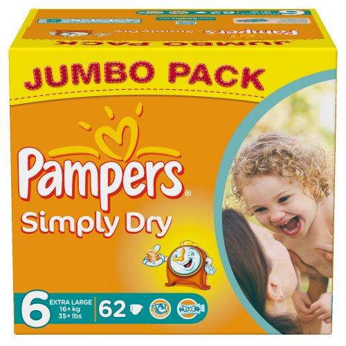 Pampers Simply Dry 62 Pañales 16 kg + talla 6 Extra Grande Jumbopack – Juego de 2