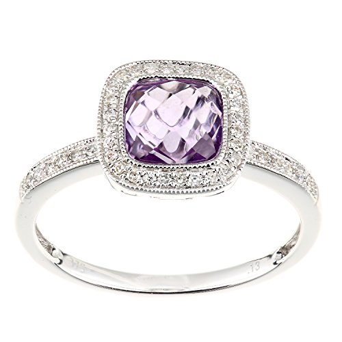 Naava Women's 9 ct White Gold Diamond and Amethyst Ring, Square Cut Gemstone, Size - O