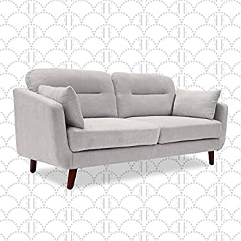 Elle Decor Chloe Upholstered Living Room Sofa Tufted Fabric Couch Mid-Century Walnut Tapered Footers 61  Loveseat Light Gray