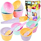 Set of 4 Ice Cream Spoons and Bowls Set with Scoop Summer Kids Party Dessert Cups