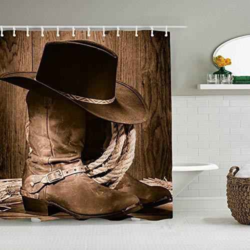 OPQRSTQ-O Personalisierter Duschvorhang,Westamerikanischer West Rodeo Cowboy schwarzer Filzhut auf Holz,wasserabweisender Badvorhang für das Badezimmer 180 x 180cm
