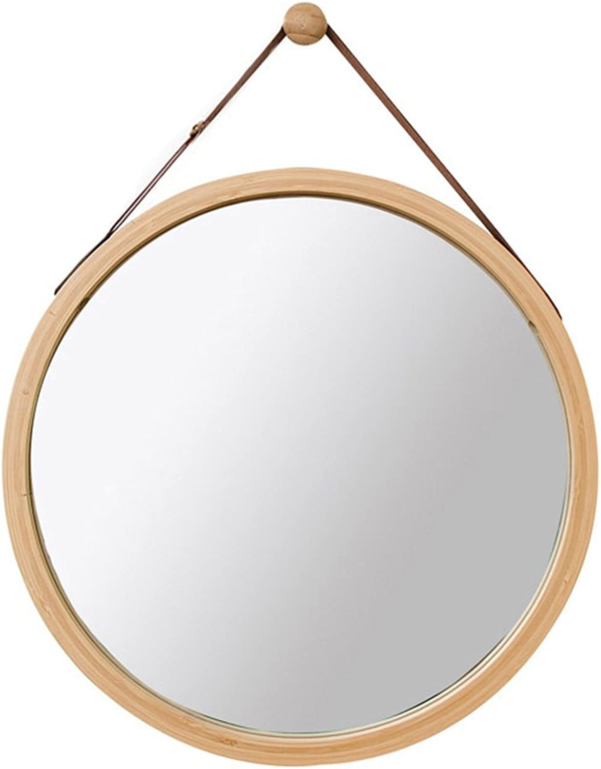Round Wall Mounted Mirror Bathroom Mirror Dressing Mirror Toilet Mirror Bedroom Wooden Decorative Mirror Round Mirror with Rope (color   Yellow, Size   45cm45cm)
