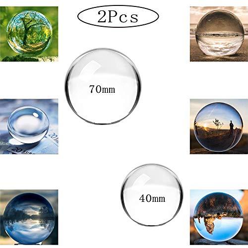 Sfera di Cristallo Trasparente, 2 Pezzi Sfera per Lenti per Decorazioni, Sfera di Vetro Ornamenti di Cristallo, Sfera di Vetro per Fotografia, per Fotografia, Decorazione, Meditazione (40mm + 70mm)