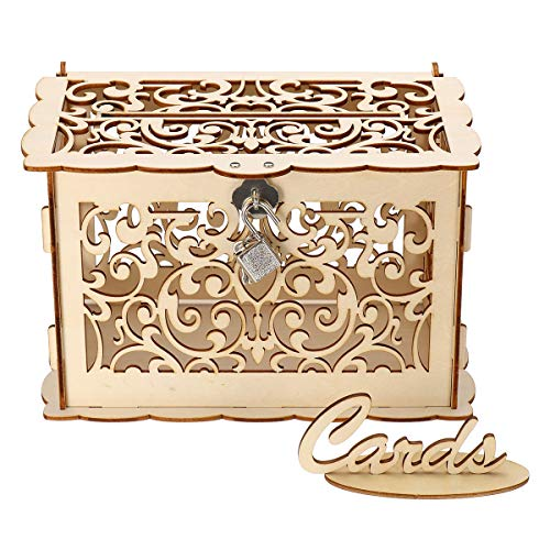 MASUNN Houten Bruiloft Post Box Bruiloft Receptie Kaartdoos Met Lock Party Decoratie, Small, 1