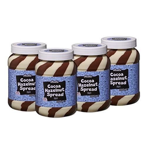 Lot de 4 pots de pâte à tartiner duo au cacao et aux noisettes AZELA (4x1000g)