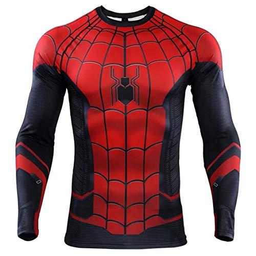 スーパーヒーロー 3D スリムフィット 速乾性 ストレッチ スポーツ コスプレ Tシャツ (M, Spider Man 長袖 1)