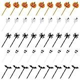 Kesote 100x Cupcake Topper Tortendeko Halloween Kuchendeko Fruit Picks Kuchen Dekoration Tortenstecker Kinder Party, Kürbis Fledermaus Schädel Geist Spinne