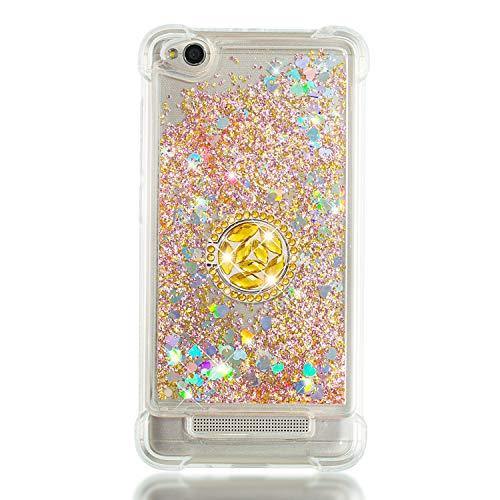 FNBK Kompatibel mit Xiaomi Redmi 4A Hülle,Silikon Glitzer Bling Strass Quicksand Diamant Tasche [360 Grad Ring Ständer] TPU Klar Handyhülle Case für Xiaomi Redmi 4A, Golden