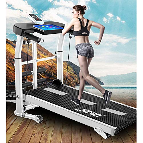 Mechanical Treadmill 4-in-1, with Mechanical Treadmill, Sit-ups Pannel, T-wisting Machine, Draw Rope Mechanical and Massage Wheel LED Display Folded with Tablet Stand,(Upgraded Version) Treadmills