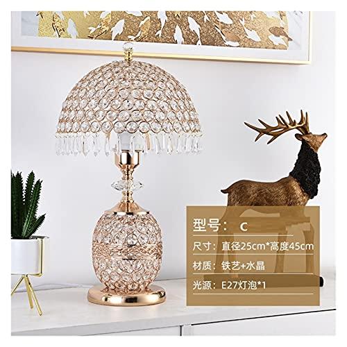Lámparas de mesa Lámpara de mesa de cristal dormitorio ligero lujo romántico estilo europeo hogar hogar cálido matrimonio simple moderno creativo casita de boda de noche l Iluminación de decoración de