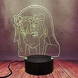 3D creativo anime llevó la lámpara de mesa kawaii cero dos chica 16 color regulable noche luz querida dormitorio juguete decorativo flash Navidad cumpleaños mejor regalo