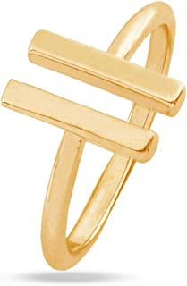 MYANAIL Open Double T Ring Parallel Line Adjustable Ring for Girl