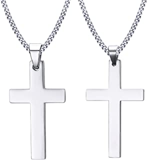 VNOX 2 Pcs Religious Jewelry Stainless Steel Cross Couples Pendant Necklace for Men Women