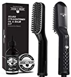 Beard Straightener for Men, Plus Beard Growth Oil & Beard Balm Conditioner, Upgraded Ionic Beard Straightening Comb, Heated Hair Brush, Perfect Christmas Gifts for Men, Beard Guide E-Book Included