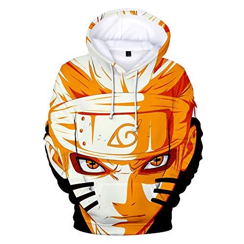 Homme Femme 3D Naruto Serie Anime Sasuke Kakashi Anime Sweats à Capuche Costume Couple Drôle Pull Garçon Fille Tops avec 2 Poches (XS,HY-12)