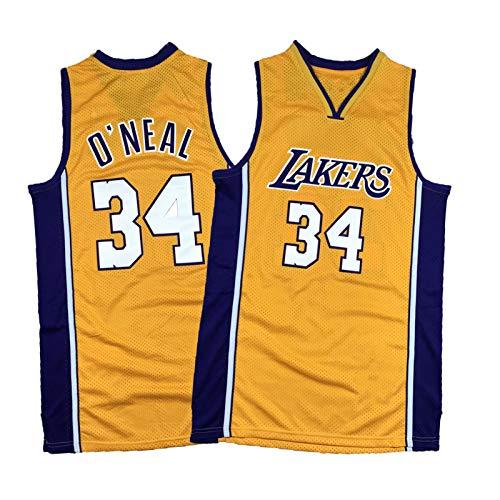 PQMW Lamer No.34 O'Neal Big Shark - Camiseta de baloncesto, cuello en V, estilo retro, talla XXL (95 ~ 110 kg)