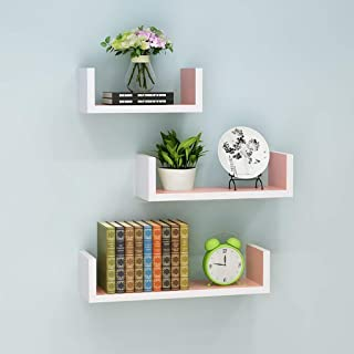 Excellent Wooden Wall Rack Shelves Pink,White Shelves Set of 3 (4 * 16 * 4) (4 * 12 * 4) (4 * 8 * 4) inches Home Decoratio...