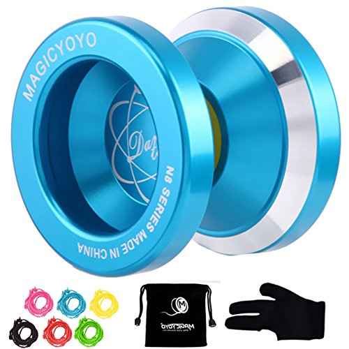 Magic YoYo N8 Professional Unresponsive Yoyo Alloy Aluminum Yo Yo + 6 Strings + Glove+Yoyo Bag Gift (Blue)