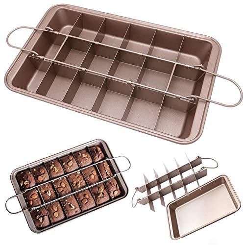 Brownie Pan with Dividers, Non Stick Brownie Square Baking Pan with Cutter 18 Pre-cut Brownies Carbon Steel Bakeware, Baking Tray Molds with Built-In Slicer for Oven Baking Chocolate Cookie and Cake