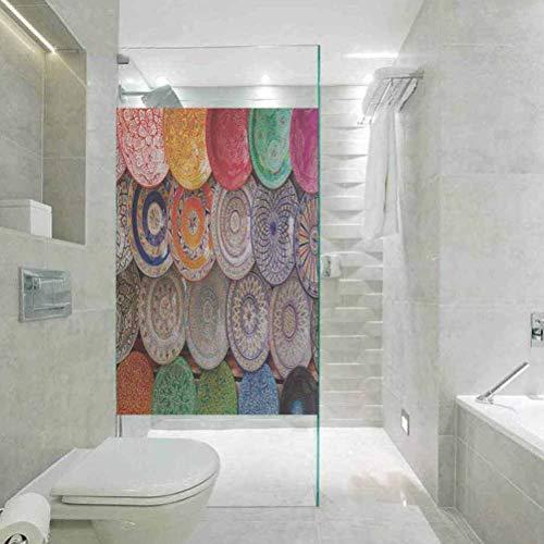 3D sin pegamento estatico decoracion de ventana pelicula de vidrio, marroqui tradicional arabe hecha a mano placas coloridas tiro en t, ventana casera tinte pelicula control de calor, 45 x 79 pulgadas