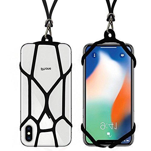 SeOSTO Handy Lanyard Case Strap Universal Handy Sling Umhängeband Silikon Halterung Schutzhülle mit für iPhone XS/Xs Max/XR/X/8 Plus/8/7 Plus/7/6S Plus/6S Samsung Galaxy S8/OnePlus 5/5T (Schwarz)