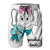 Hombres Verano Secado rápido Pantalones Cortos Playa Independientemente Sonrisa Elefante Camiseta Textil Trajes de baño Correr Surf Deportes-4XL