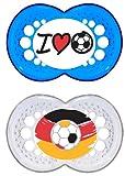 """MAM Original Silikon Schnuller """"Football""""-Kollektion im 2er-Set, zahnfreundlicher Schnuller, Baby Schnuller aus speziellem MAM SkinSoft Silikon mit Schnullerbox, 16+ Monate, blau"""