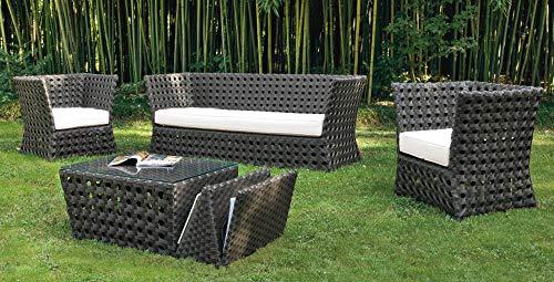 ranieri Wicker Paros - Juego de sofá y Mesa de jardín (2 sillones)
