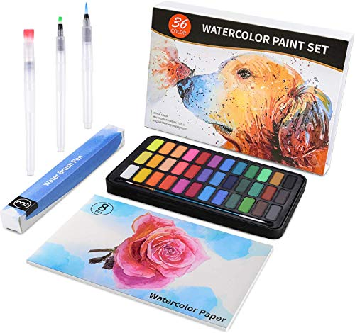 union accessories Watercolor Paint Set, 36 Colors with 3pcs Water Brush Pens, 1pc Nylon Paint Brush, 8 Sheets 300g Watercolor Paper, Lightweight and Portable for Kids, Adults, Artists, Beginners