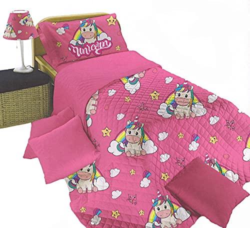 Perlarara - Colcha individual para niña con diseño de unicornio, de verano, para cama individual de niños, color rosa, 170 x 260 cm | Colcha individual de primavera para niños de microfibra