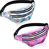 2 Pieces Holographic Fanny Pack Metallic Color Sport...
