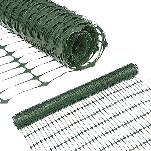 Abba Patio Snow Fence 4' X 100' Feet Plastic Safety Fence Roll Temporary Poultry Fencing Mesh Economy Construction Fencing for Deer, Lawn, Rabbits, Chicken, Poultry, Dogs, Green, 1.25' Mesh