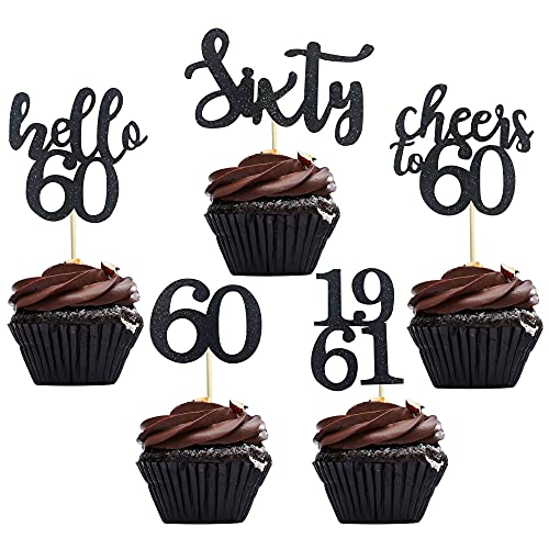 40 PCS Black Glitter 60th Birthday Cupcake Toppers Set for 60th Birthday Celebrating Party Decorations